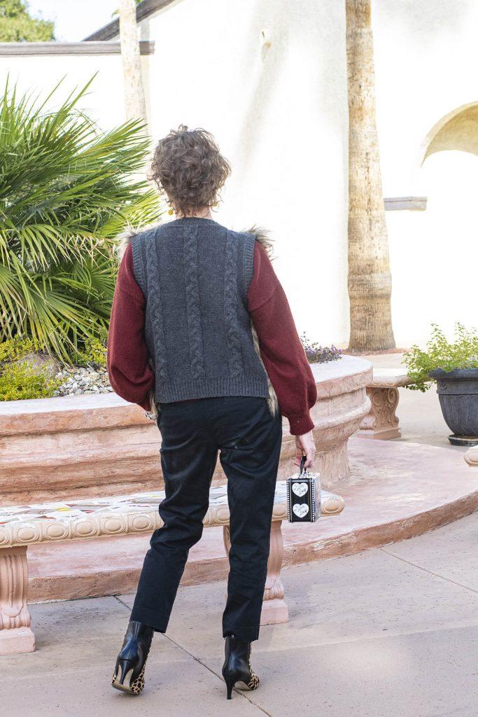 Back of faux fur vest
