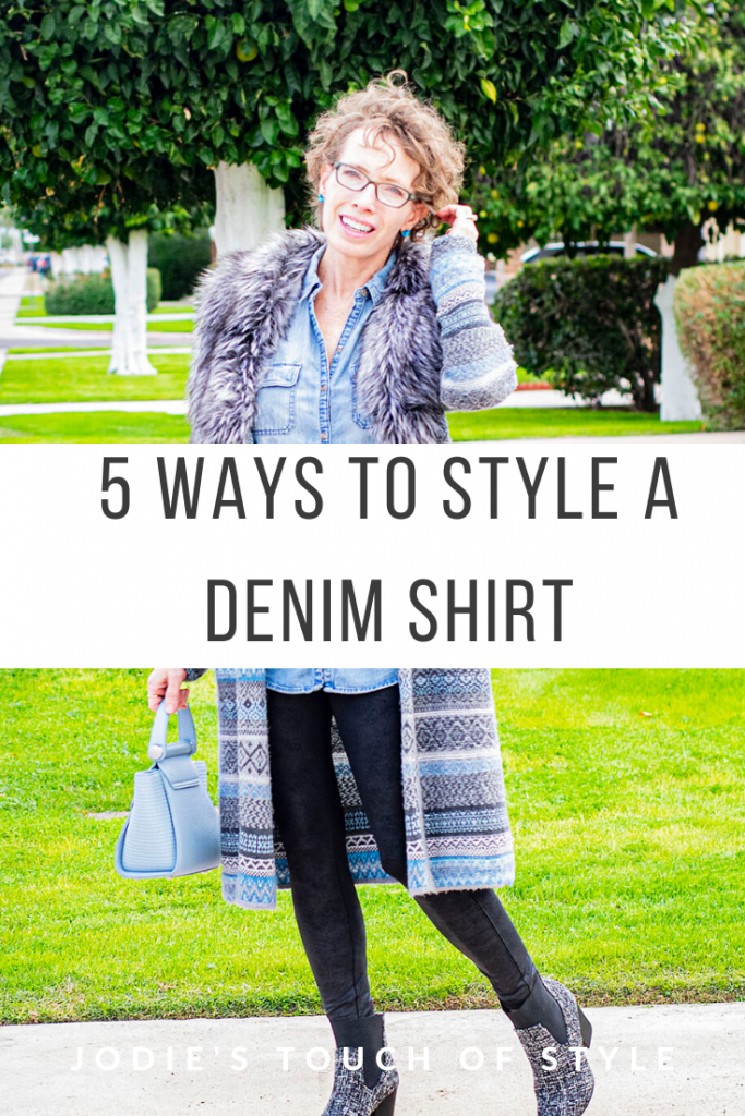 Ways to style a denim shirt with leggings