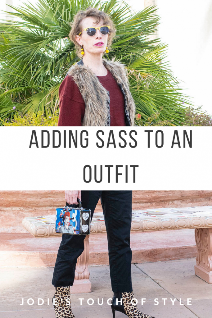 Adding sass to a red top and black pants