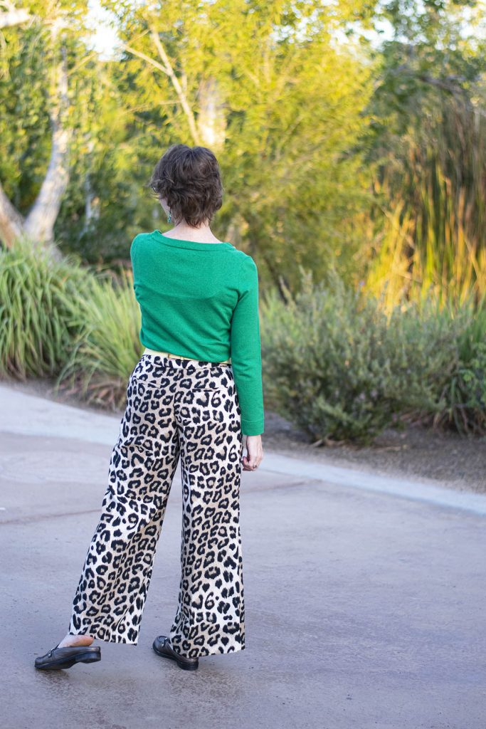 Styling leopard pants with green