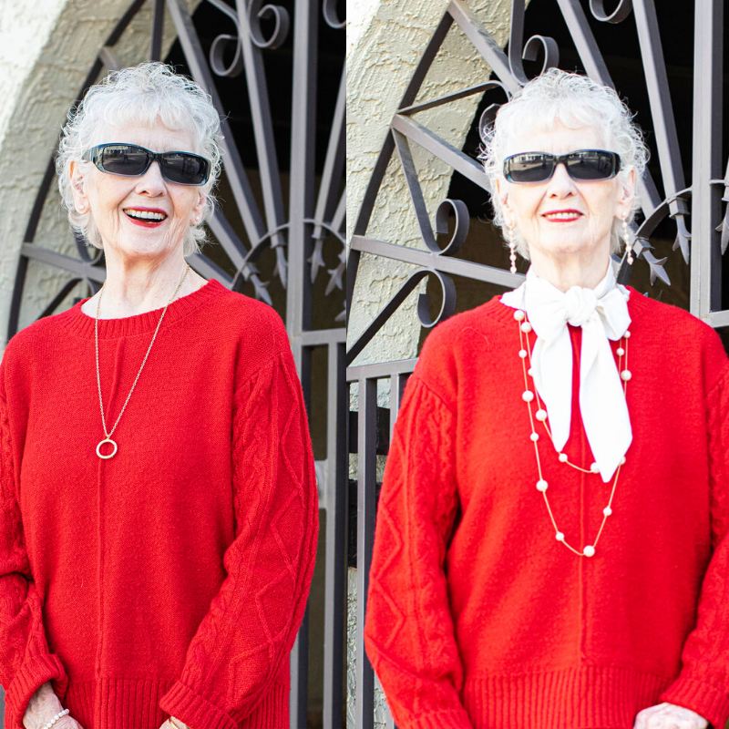 Woman in her 80 in an outfit with a red sweater