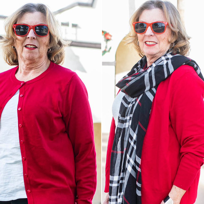 Comparison of a red cardigan
