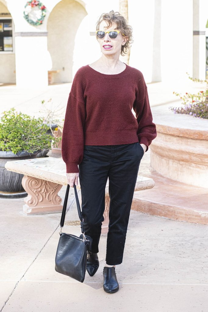 Boring red top and black pants outfit