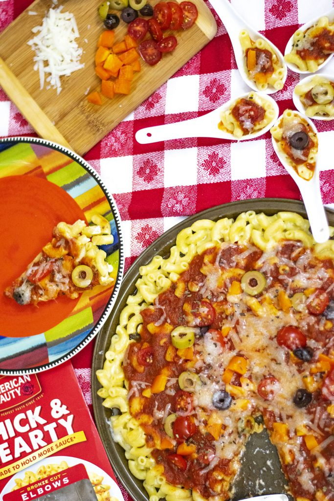 Mac and cheese pizza and bites