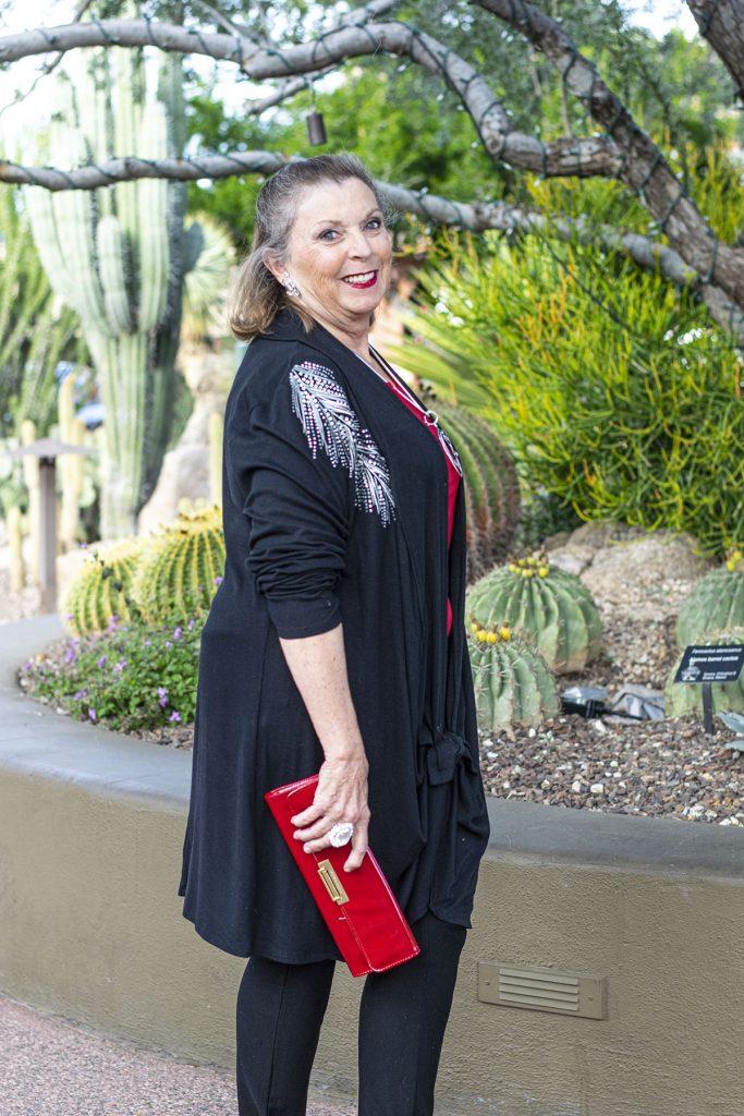 Styling an elegant black cardigan