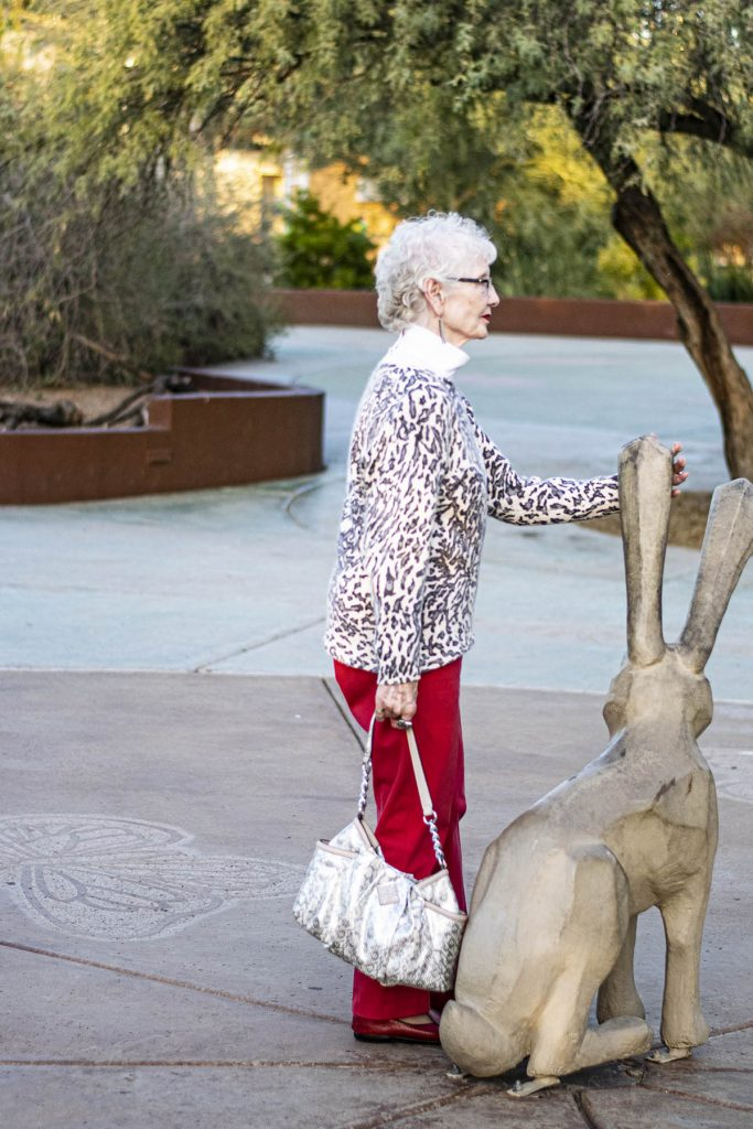Styling a gray leopard cat sweater