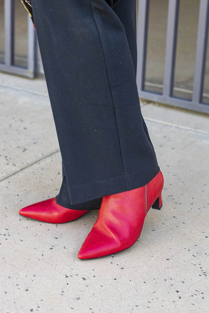 Red ankle boots for older women