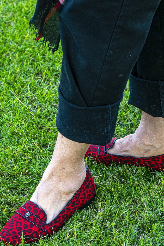 Red leopard loafers