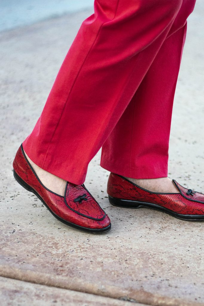 Red snakeskin loafers