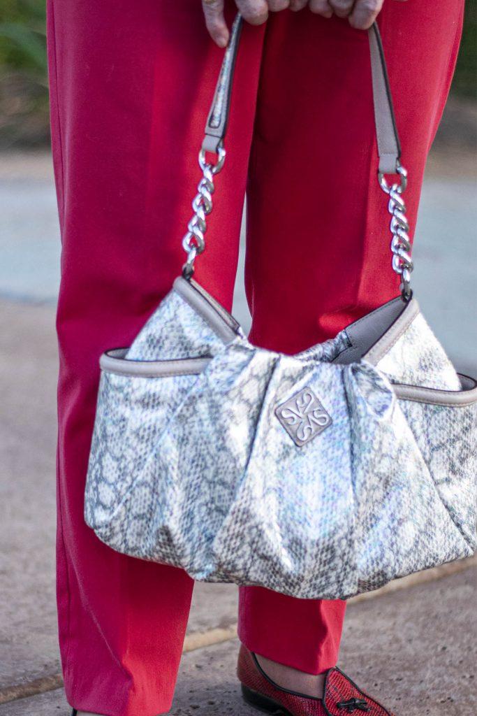 Silver snakeskin purse