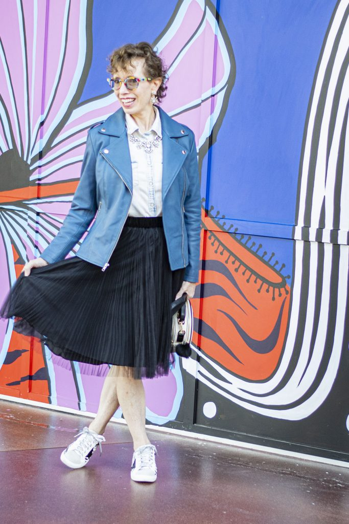 Ways to style a denim shirt with a tulle skirt