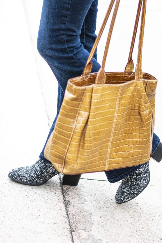 Brown purse and booties