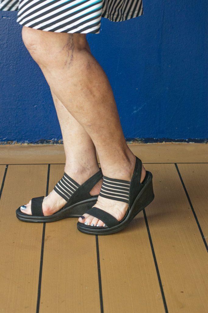 Black sandals for older women