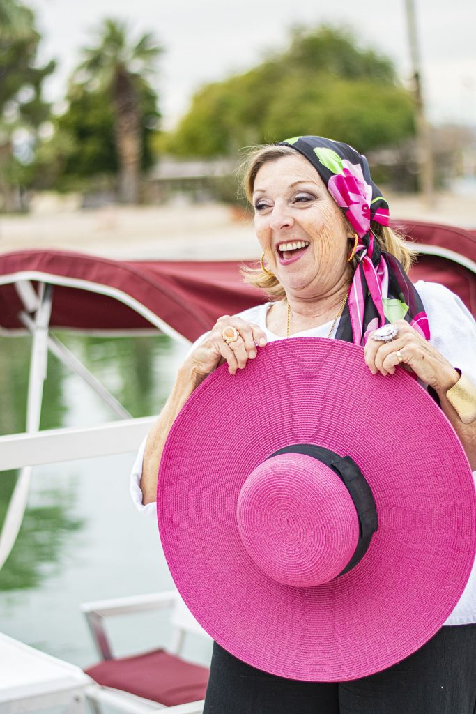 Pink and black straw hat is perfect for sun protection