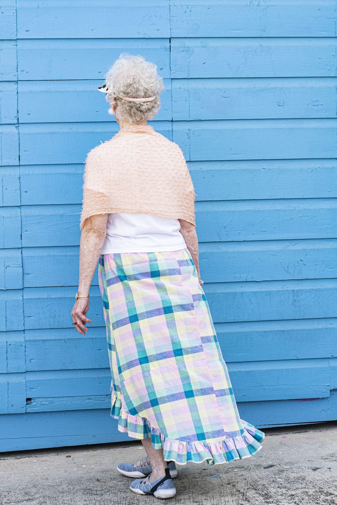 Plaid hi low skirt styled for an excursion