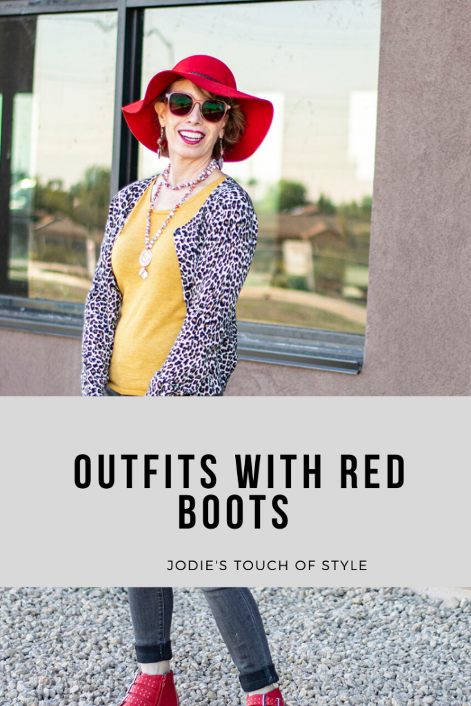Outfits with red boots for women over 50