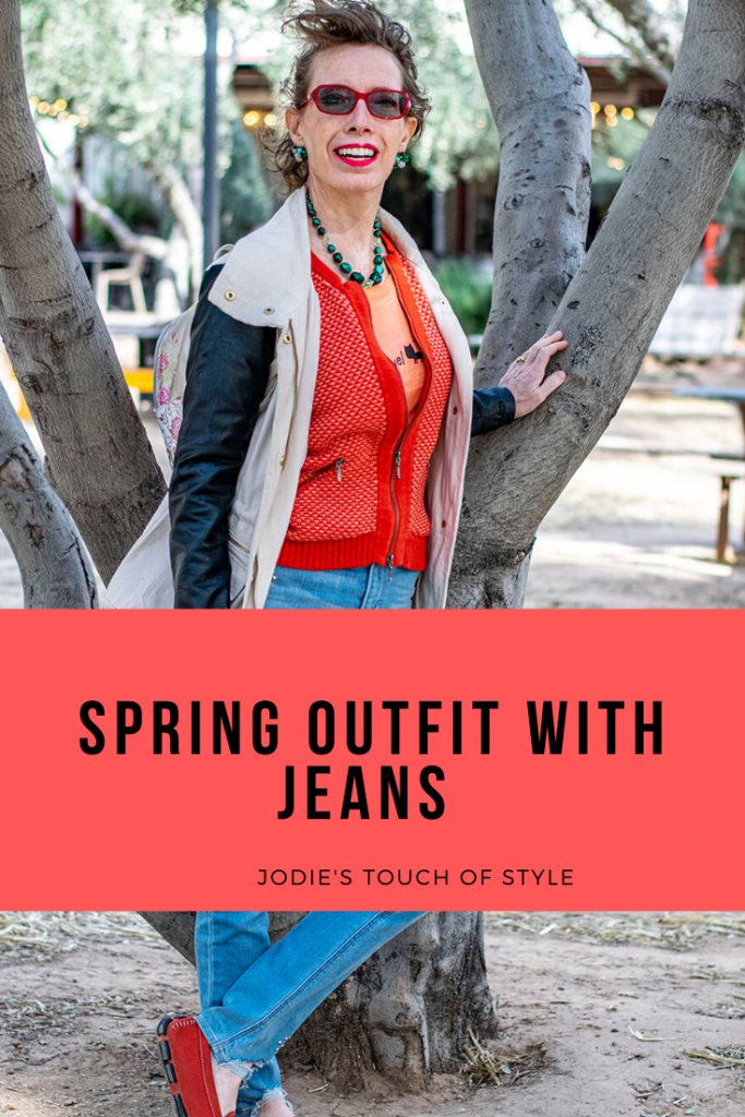 Spring outfit with jeans for women over 50