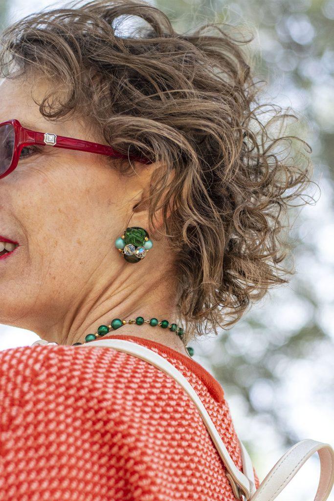 Green stud earrings