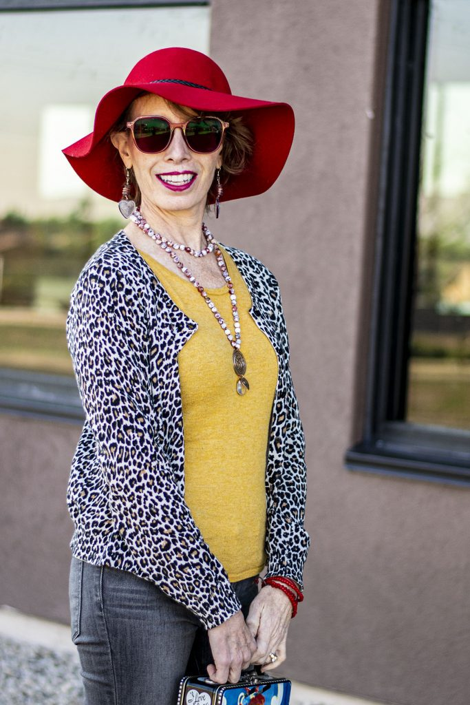 Leopard cardigan with yellow sweater