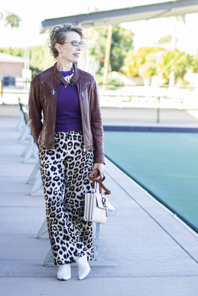 What to wear with leopard print pants and a darker color