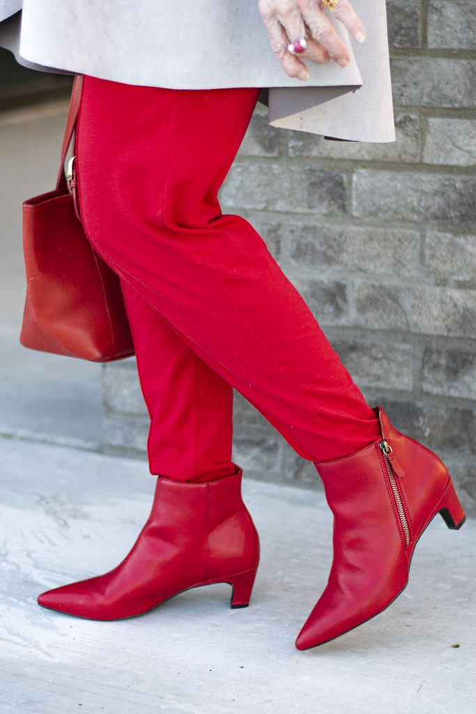 How to style red boots for a casual day