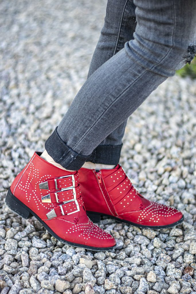 Studded red booties