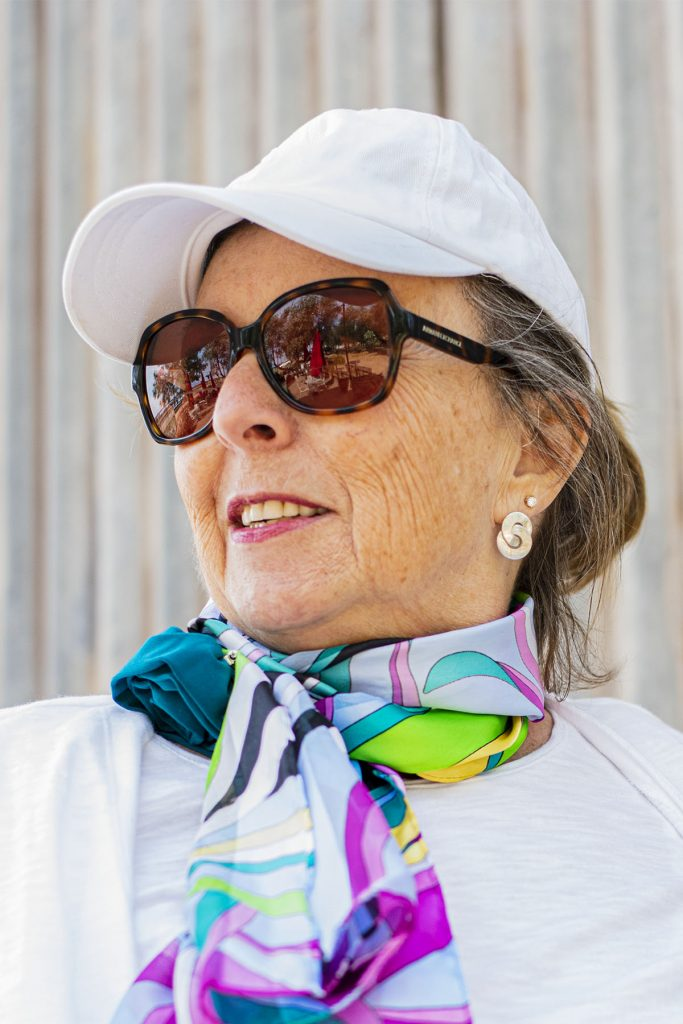 Woman over 60 with bright colors