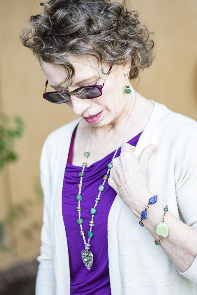 Green and purple with tips for accessorizing an outfit