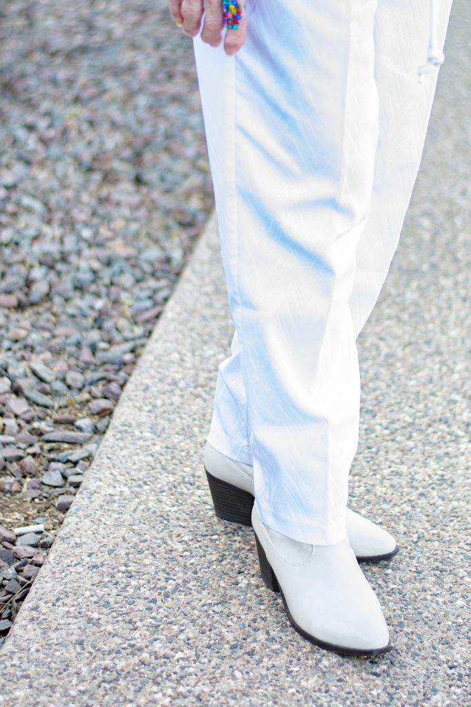 White jeans and boots