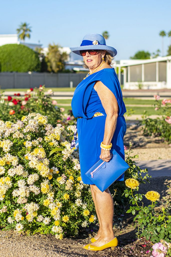 Woman over 60 in a mother's day outfit