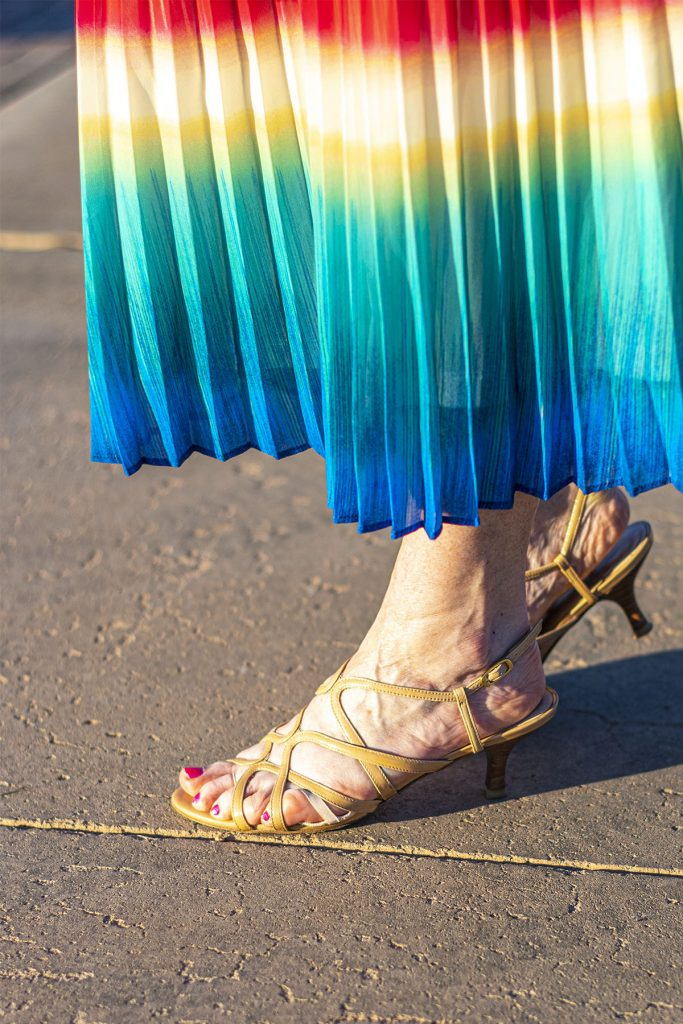 Nude sandals to go with bright colors