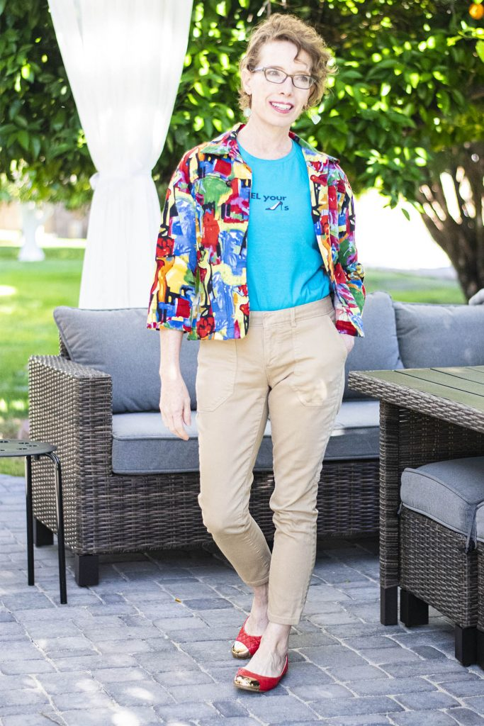 Bright outfit for women over 50