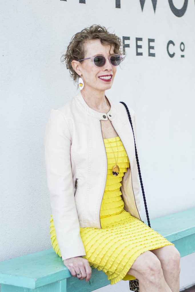 Saying spring with a yellow dress