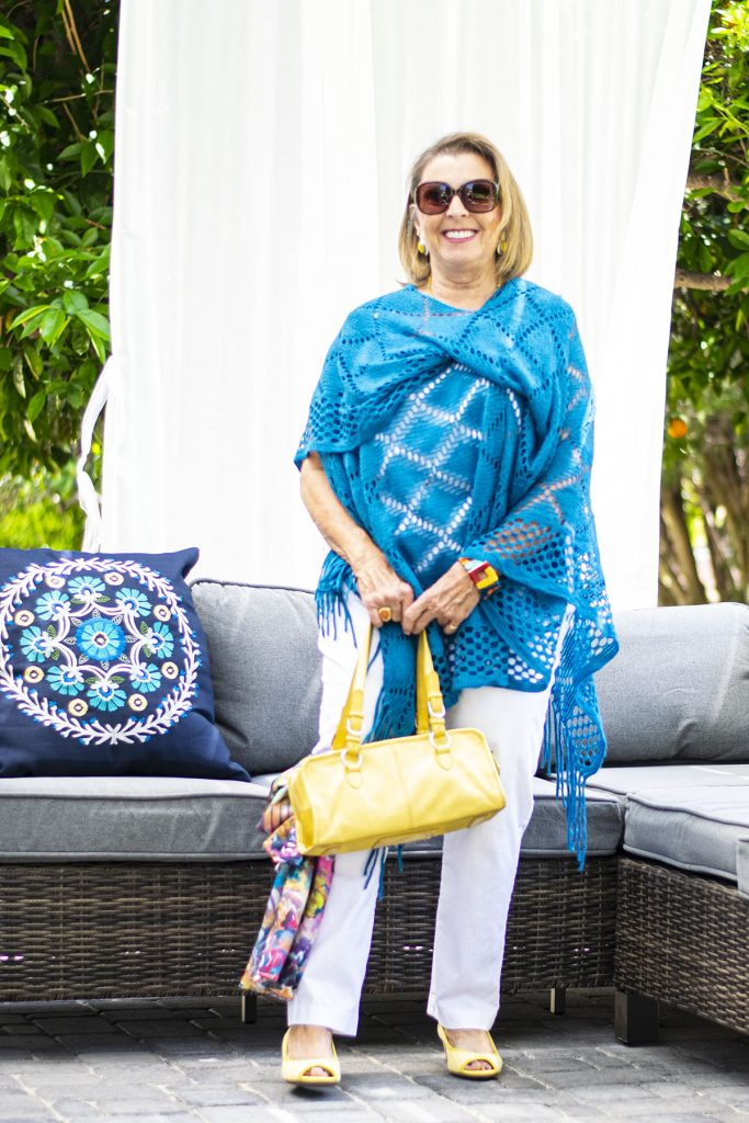 Blue and white with a crochet poncho