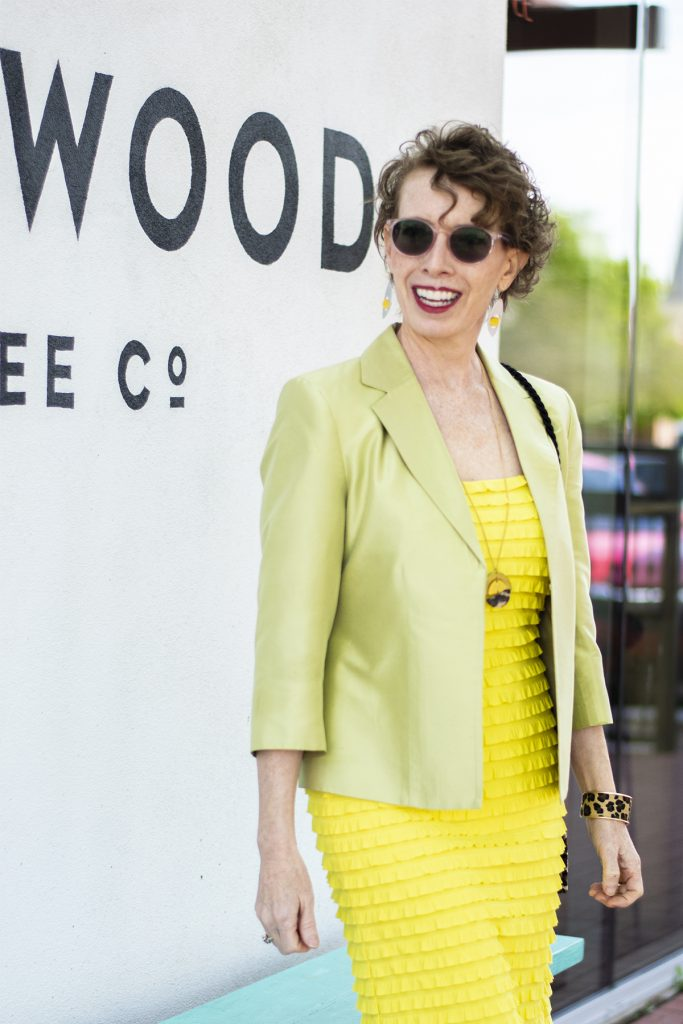 Yellow dress and green jacket