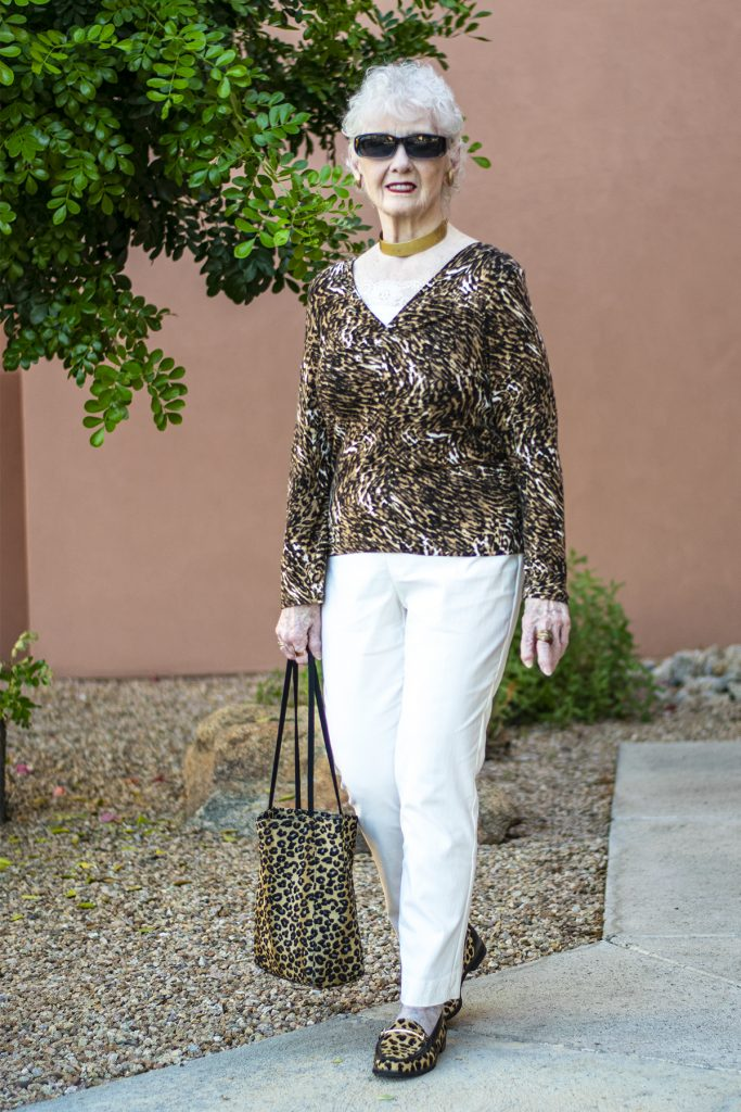 White and leopard print outfit