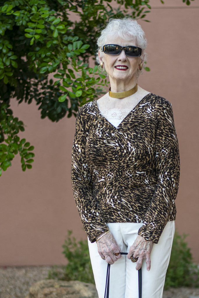 Older woman and leopard print outfit