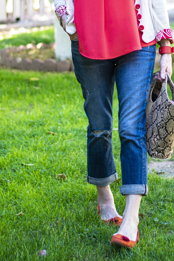 Distressed denim for older women