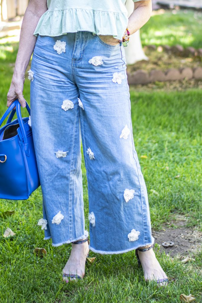 Wearing jeans in the summer with wide leg denim