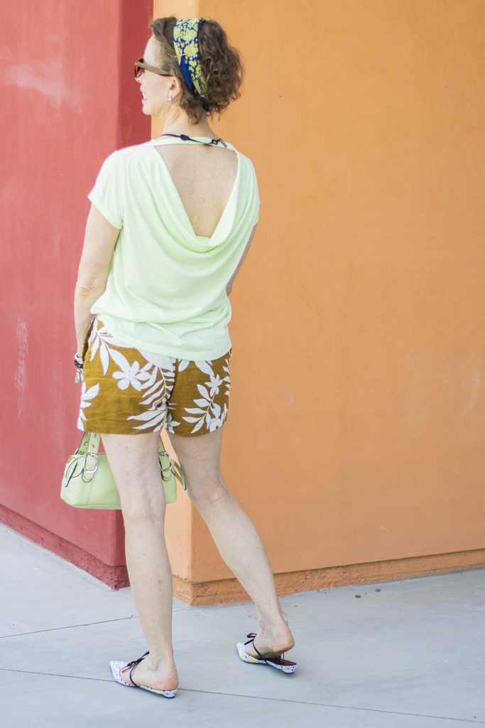 Older women in shorts a cowl tee