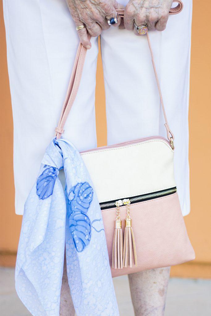 Scarf decoration on a purse