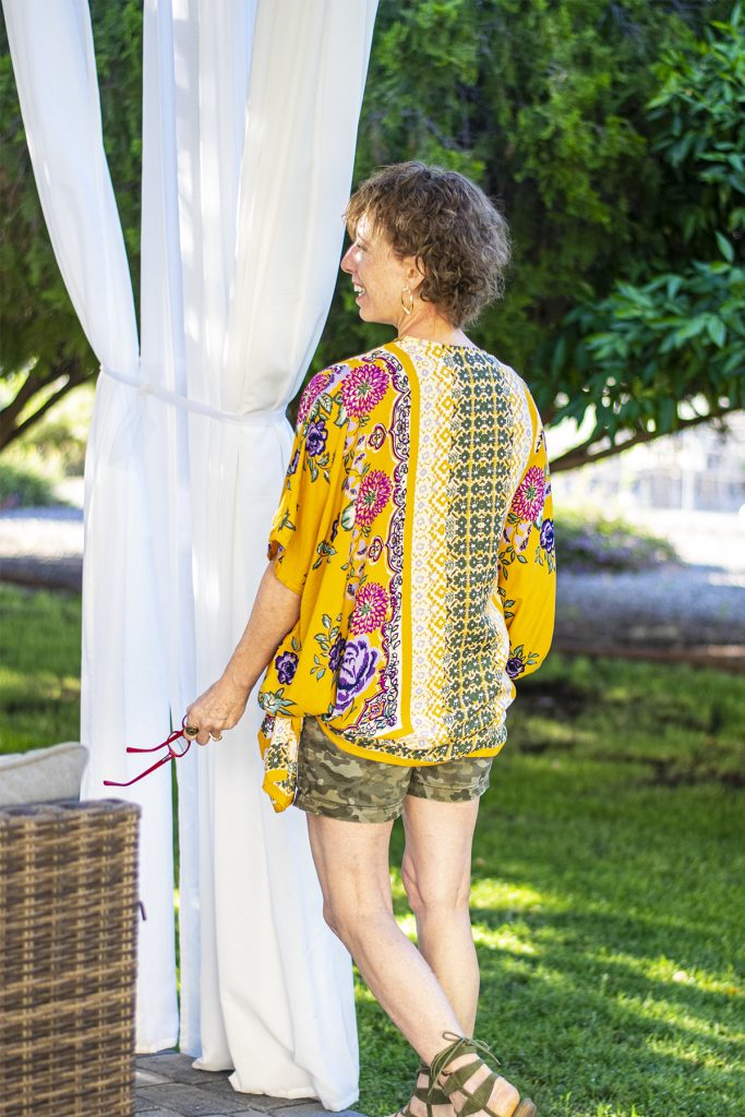 Camo as an option to pair with a colorful kimono