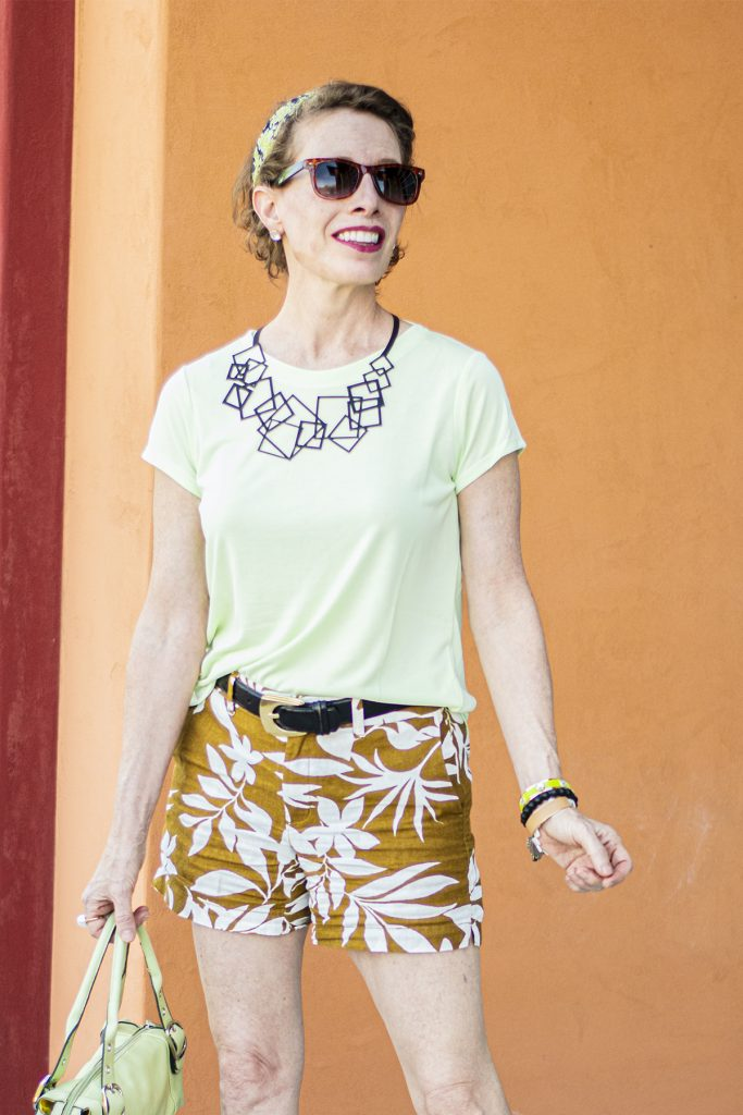 Lime green and tan
