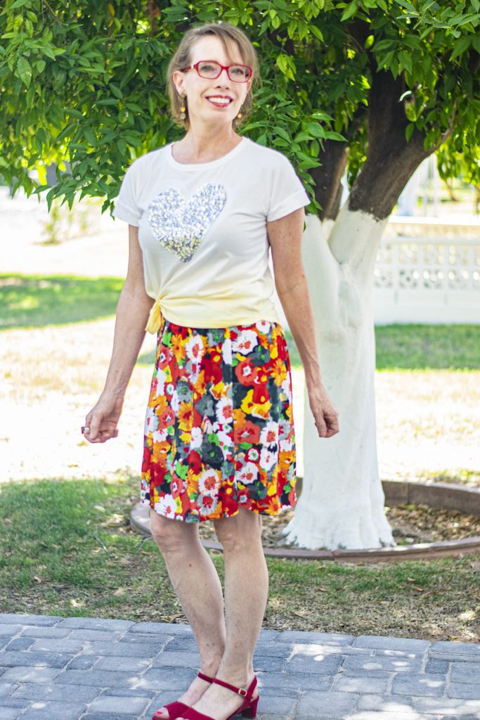 Wearing a floral skirt