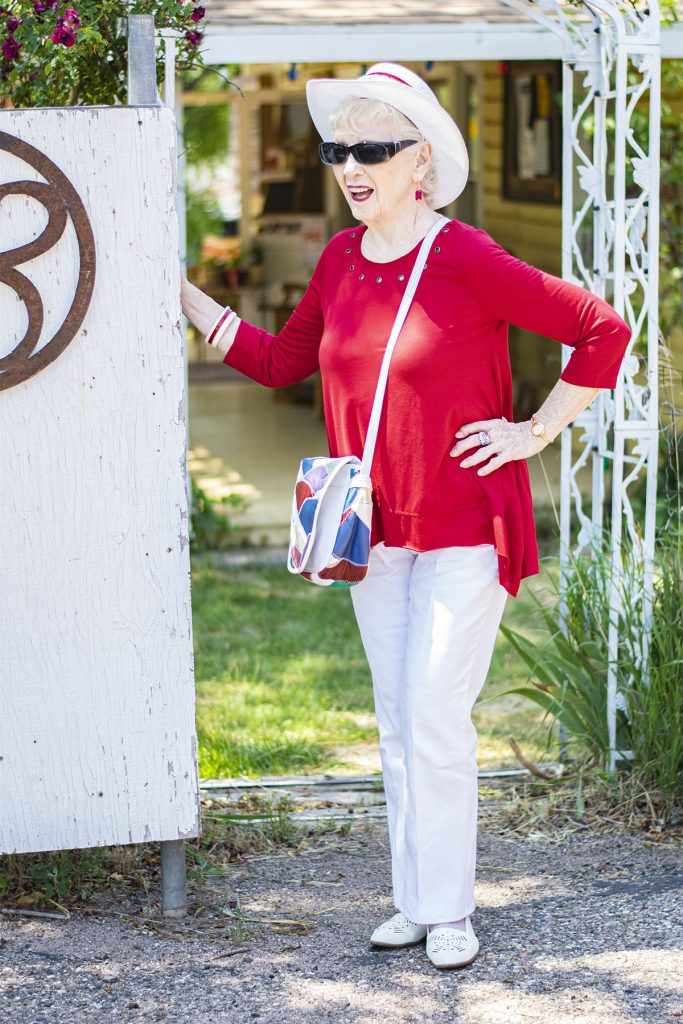 Red and white outfit for women over 70