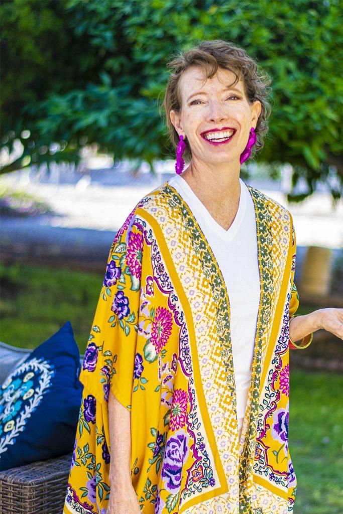 Colorful kimono with white
