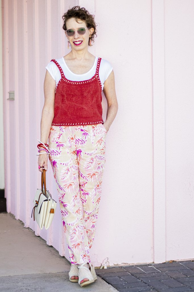 Styling paper bag pants outfit for older women