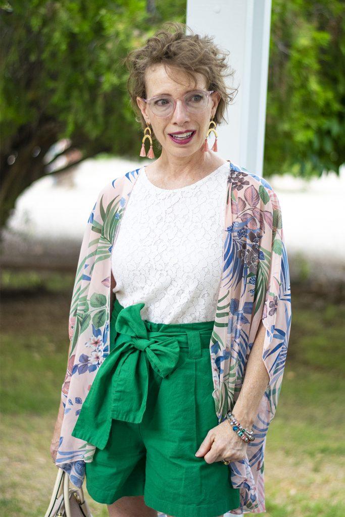 Lace top and kimono