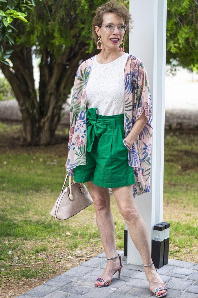 Paper bag pants outfit with kimono