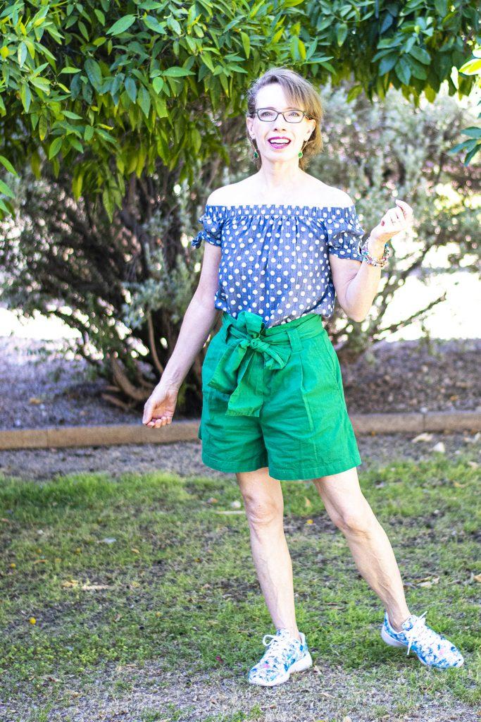 OTS top and paper bag shorts